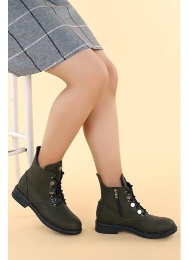 Ayakland Ayakland N901-02 Cilt Termo Taban Kadın Bot Ayakkabı Yeşil